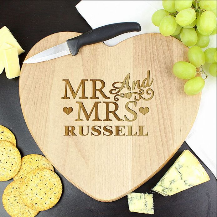 Personalised Heart Chopping Board - Mr & Mrs
